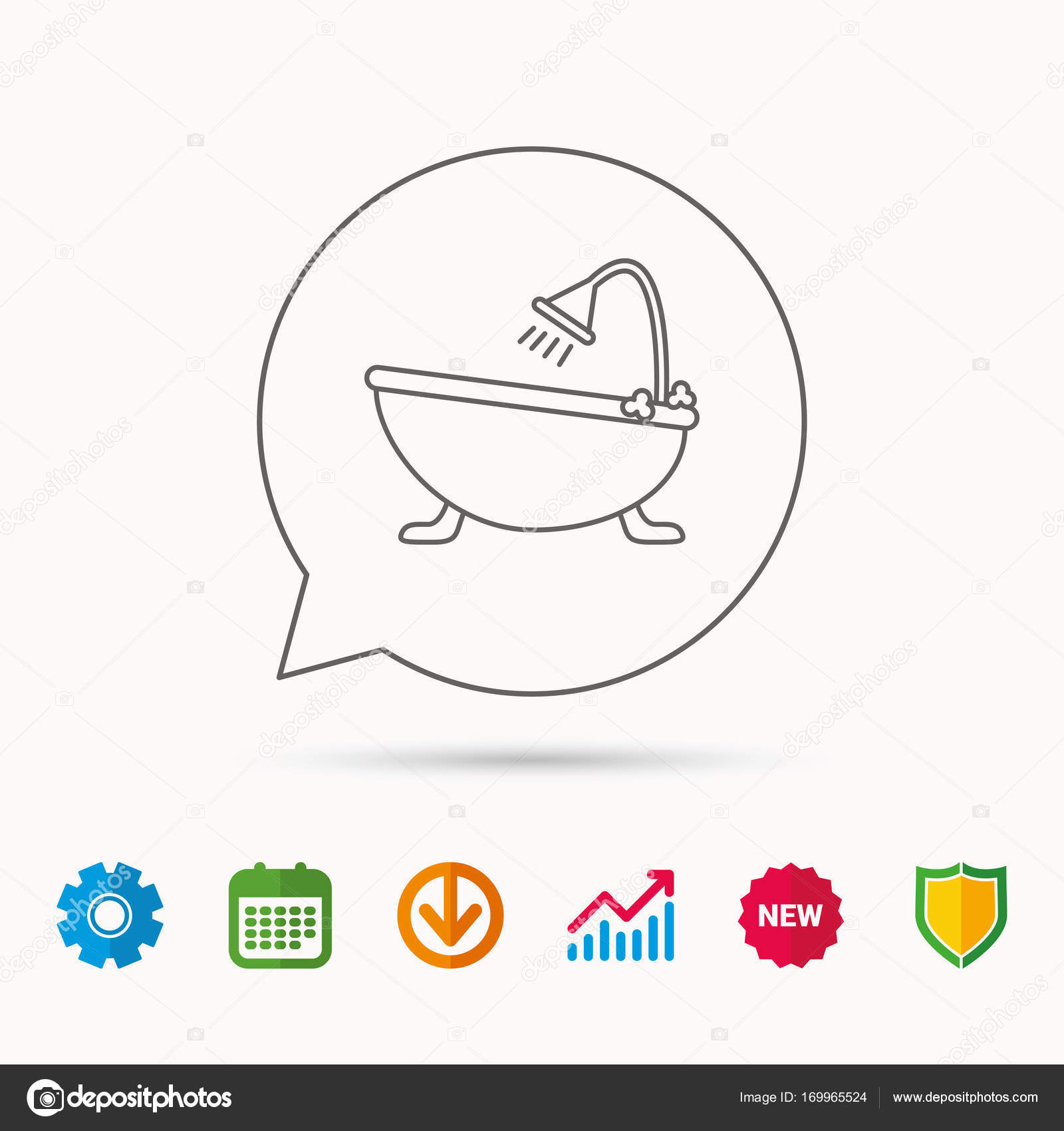 Bathroom Icon Bath With Shower Sign Calendar Graph Chart And Cogwheel Signs Download Shield Web Icons Vector By Tanyastock