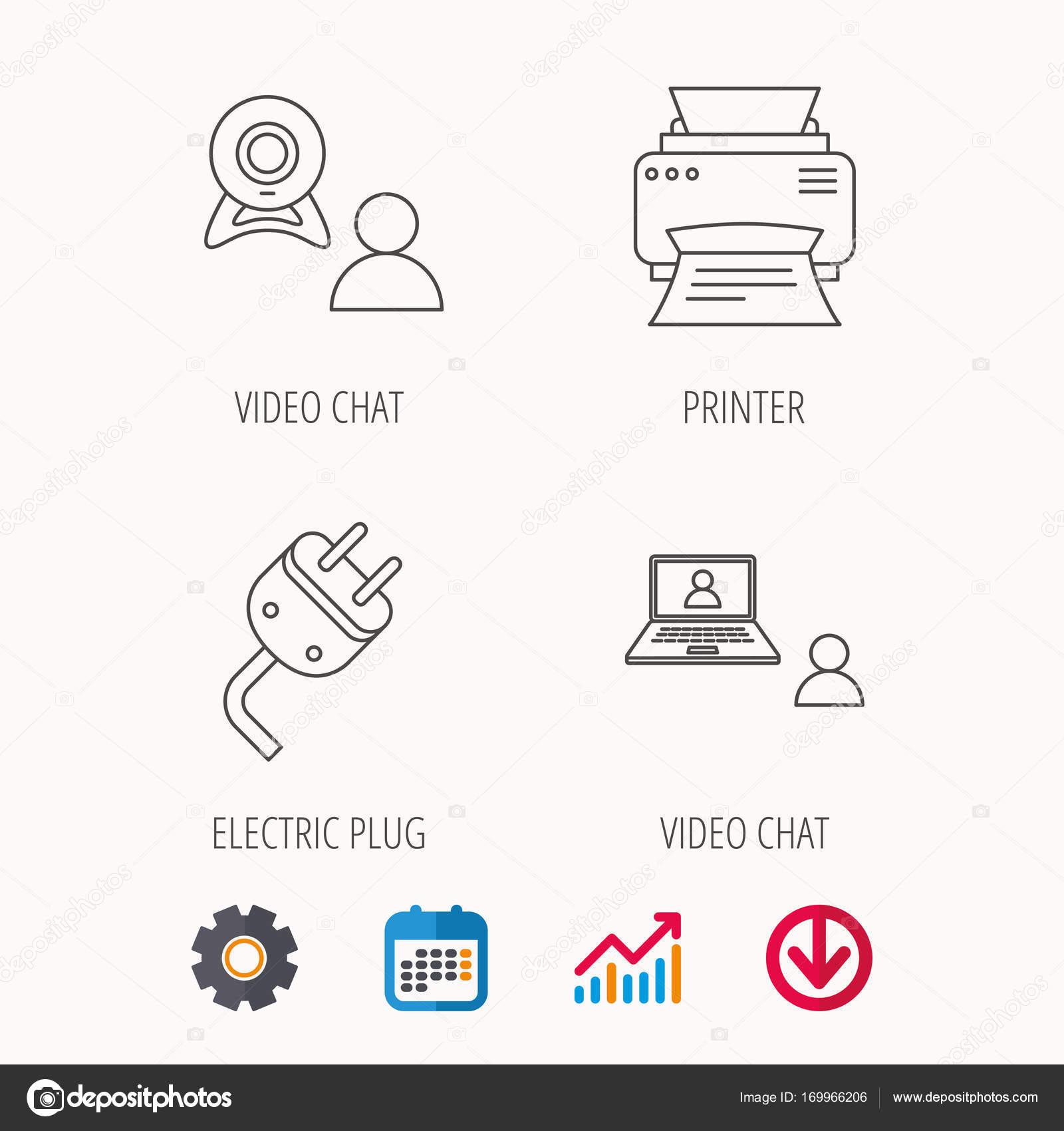 Video-Chat, Drucker und elektrische Stecker Symbole — Stockvektor ...