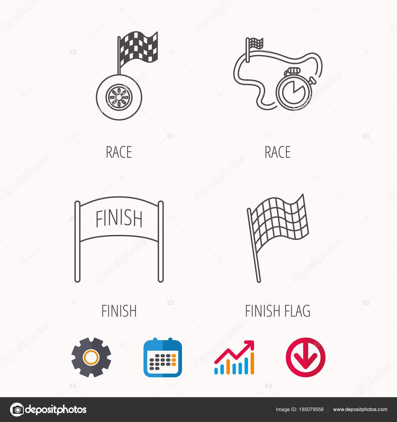 Zielflagge, Regatta-Timer und Rad-Symbole — Stockvektor © Tanyastock ...