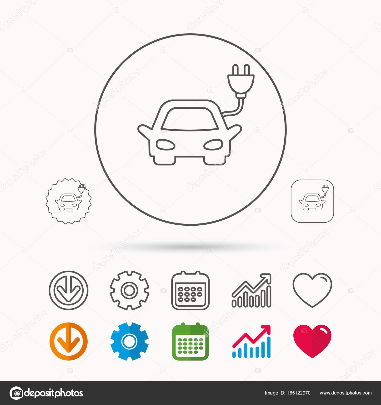 Elektrische Auto Pictogram Hybride Auto Vervoer Teken Stockvector