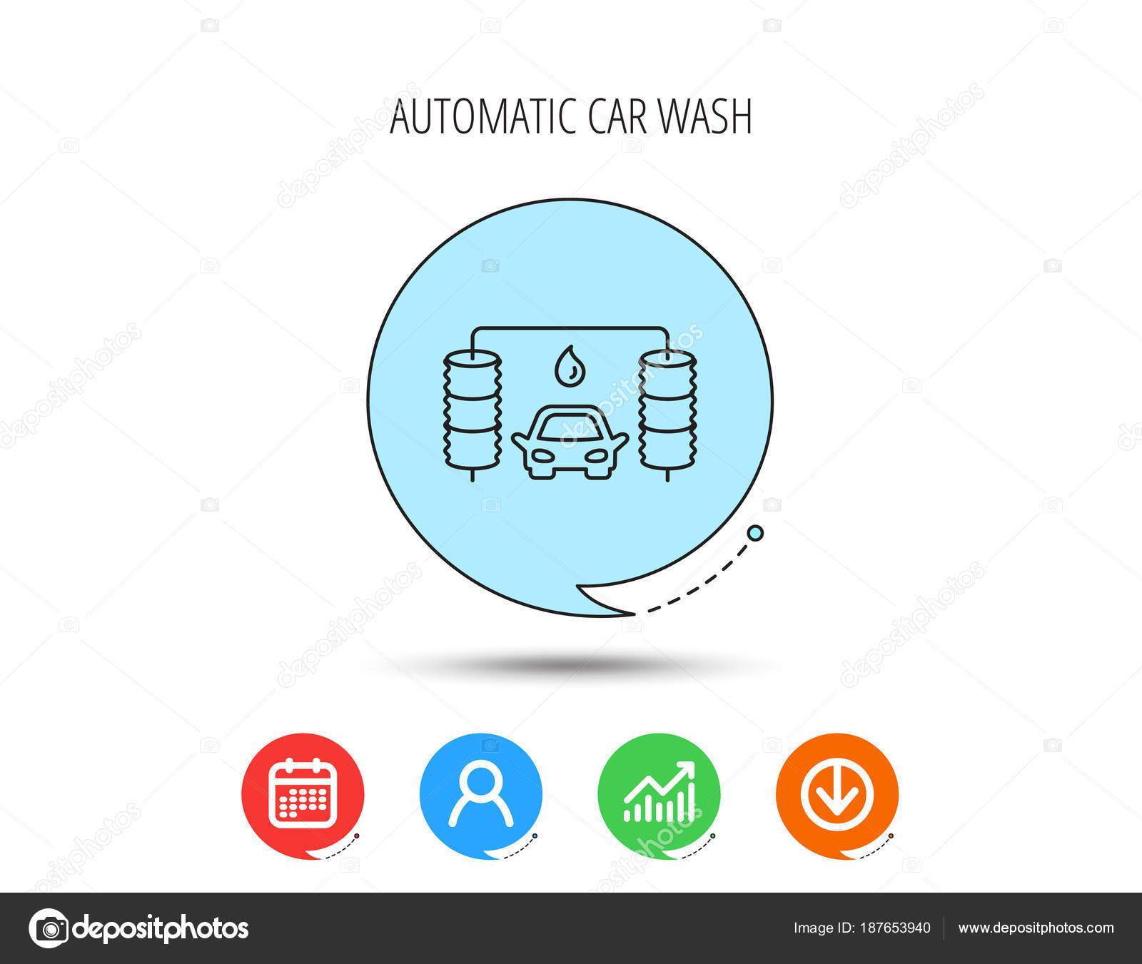 Automatische Waschanlage-Symbol. Reinigung von Bahnhof Zeichen ...