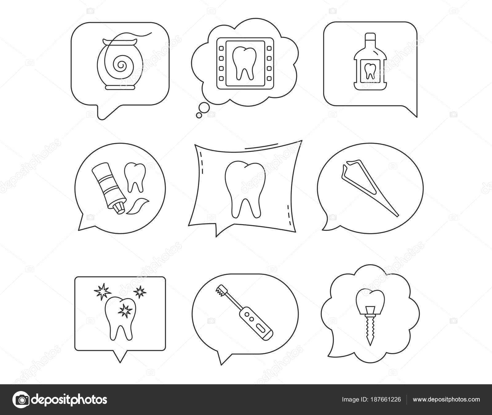 Zahnseide, Zahn und Implantat-Symbole. Mundwasser — Stockvektor ...