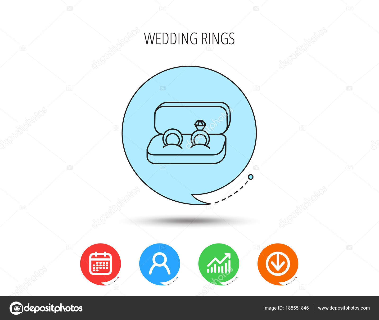 Wedding rings icon jewelry with diamond sign stock vector wedding rings icon jewelry with diamond sign marriage symbol calendar user and business chart download arrow icons speech bubbles with flat signs ccuart Images