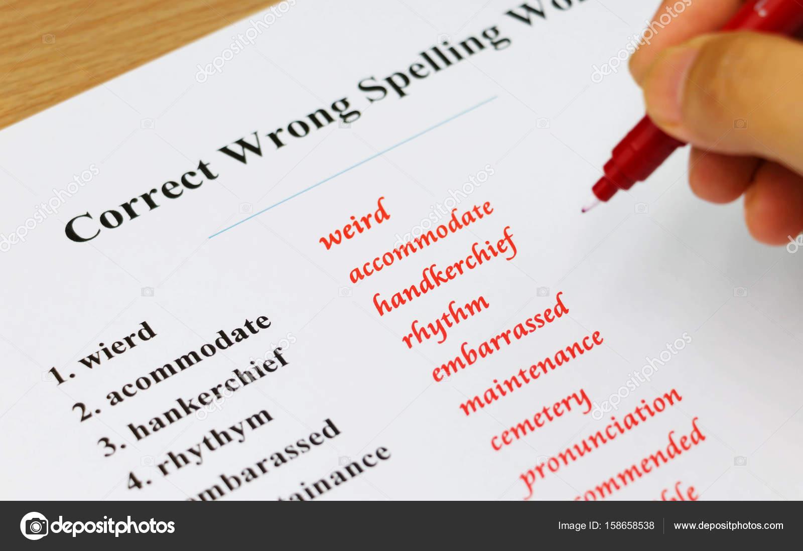 hoja de ortografía sobre mesa — Fotos de Stock © lamaip #158658538