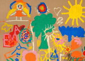 Crazy colorful painting - cardboard with little childrens graffiti