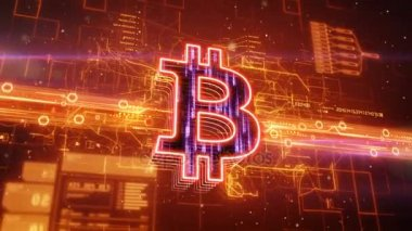 Bitcoin icon on abstract orange background