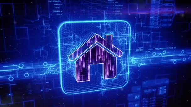 Home icon on abstract blue background