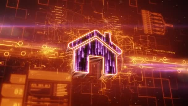 Home icon on abstract orange background