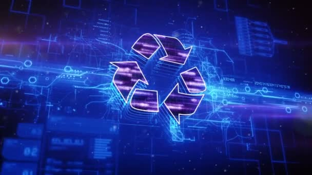 Recycle icon on abstract blue background