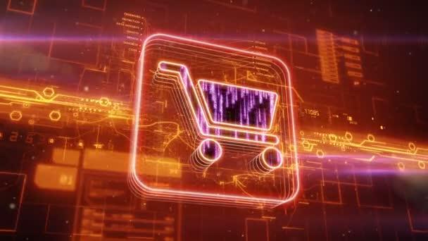 Ikona nákupního košíku na abstraktní pozadí