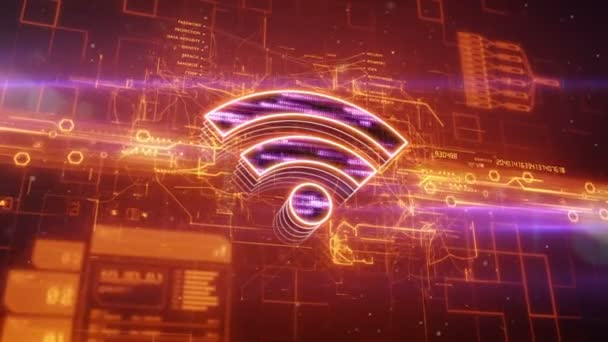 Wireless icon on abstract orange background