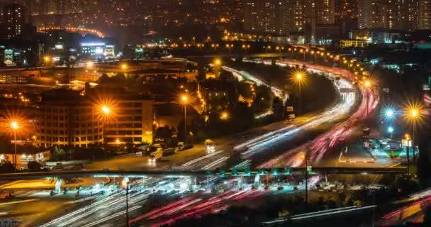Nacht Verkehr Zeitraffer in Istanbul