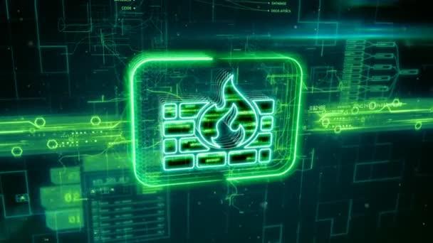 Ikona brány firewall na zeleném pozadí abstraktní
