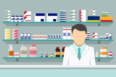 Modern interior pharmacy with male pharmacist