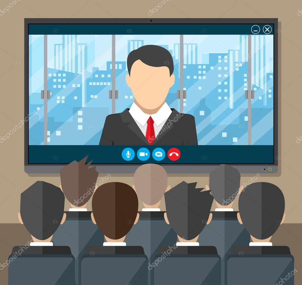 Online conference  Internet meeting, video call — Stock