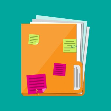 documents folder with paper sheets, sticky notes