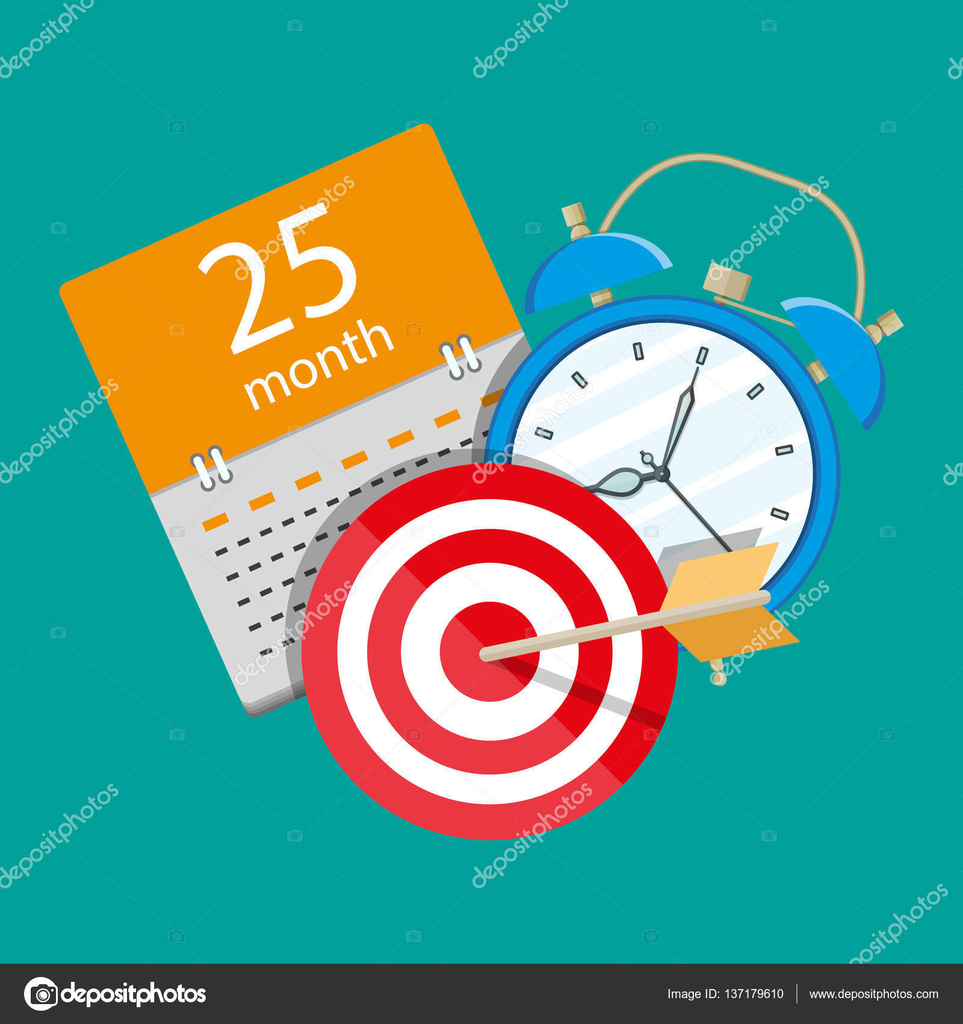 Calendar Planner Target : Alarm clock calendar target. time management u2014 stock vector