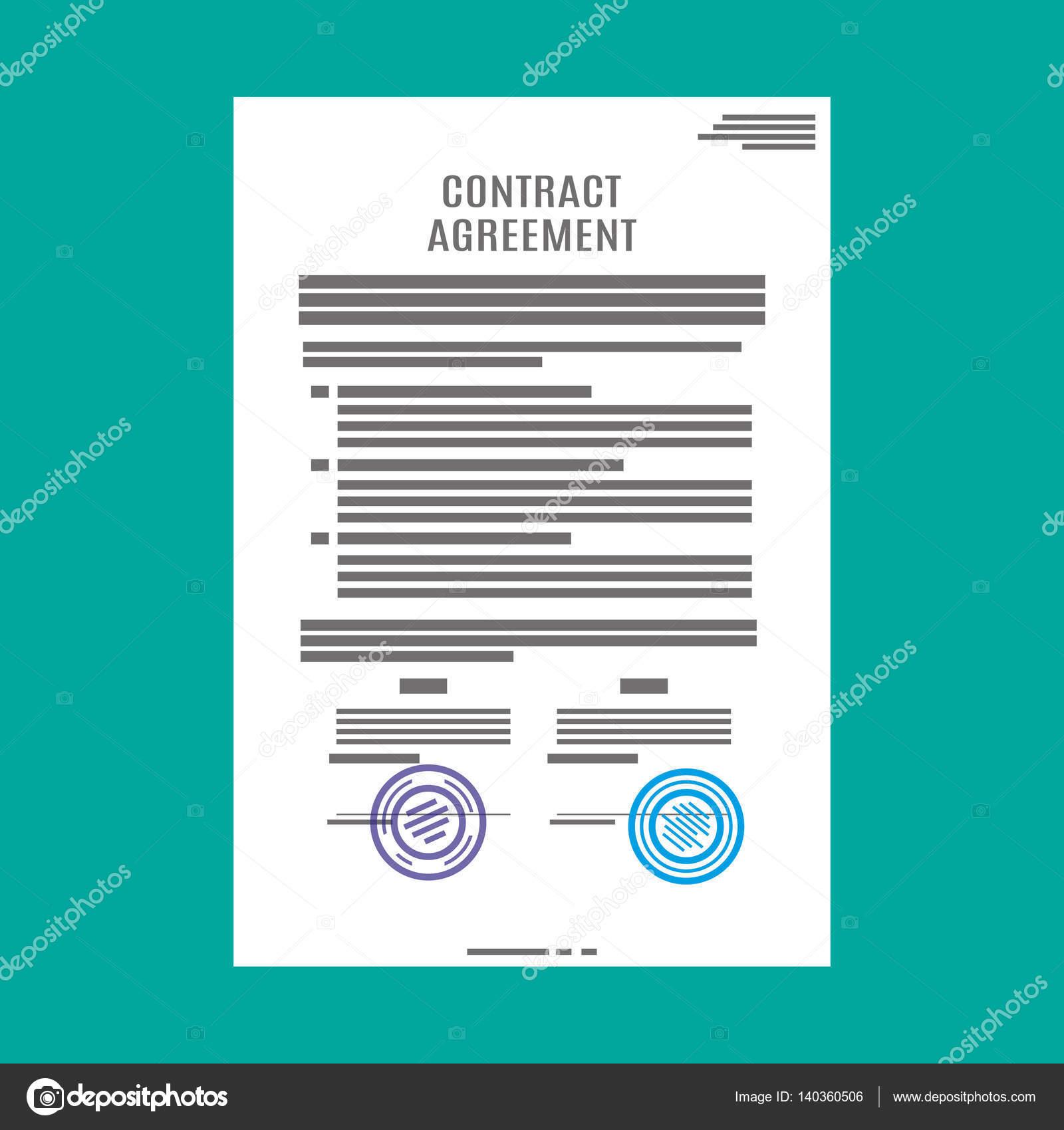 Vertrag Vereinbarung Papier blank mit Dichtung — Stockvektor ...