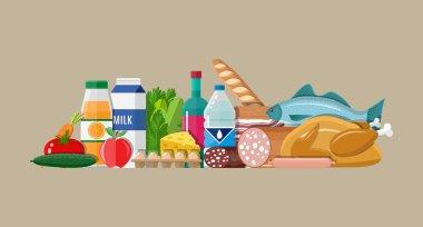 Grocery set. Meat, fish, salad, bread, milk