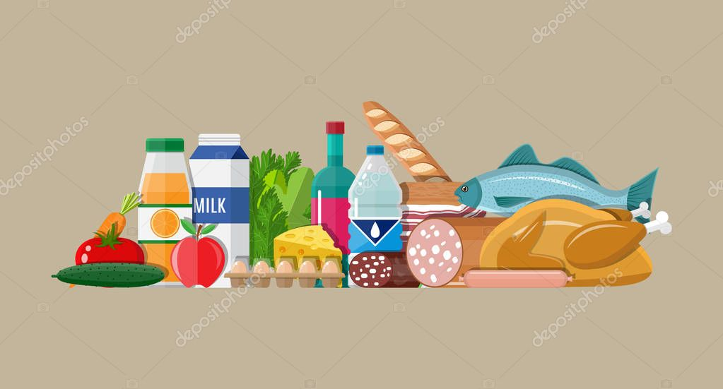 Grocery set. Meat, fish, salad, bread, milk