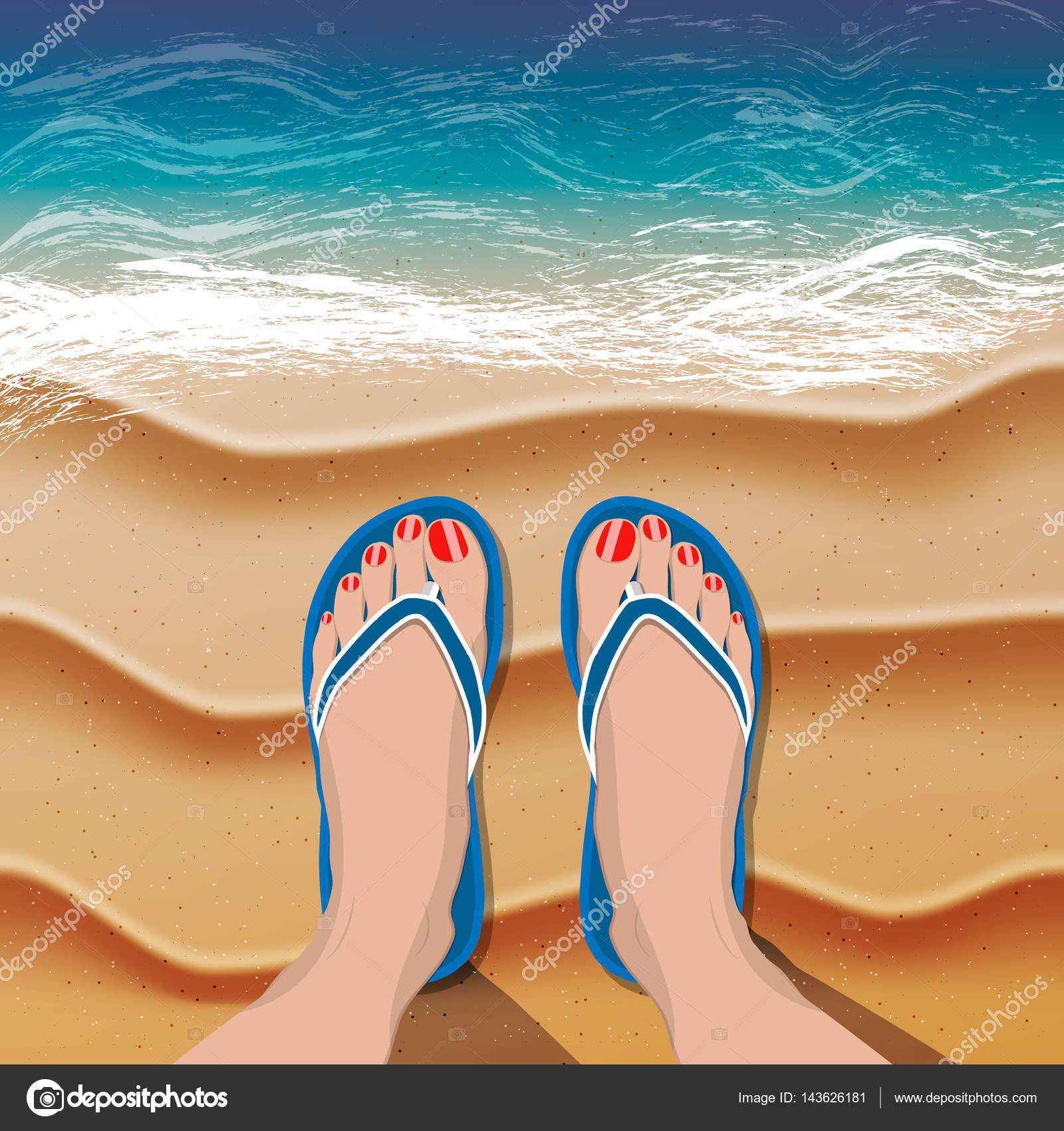 b425bc2a6d Γυναικεία πόδια με κόκκινο πεντικιούρ σε σαγιονάρες στην παραλία με άμμο  και τη θάλασσα. Εικονογράφηση διάνυσμα — Διάνυσμα με ...
