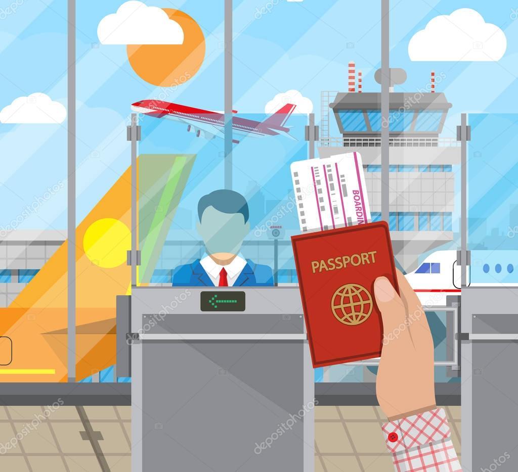境界線コントロールの概念、入国審査官 — ストックイラストレーション