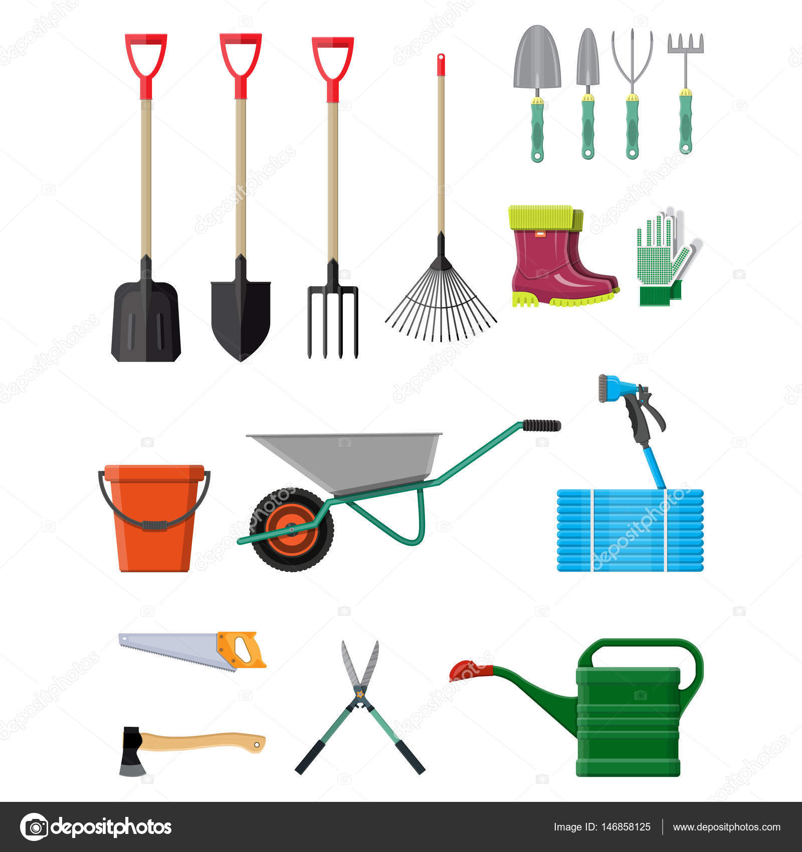 Gardening tools set equipment for garden stock vector for Different tools and equipment in horticulture