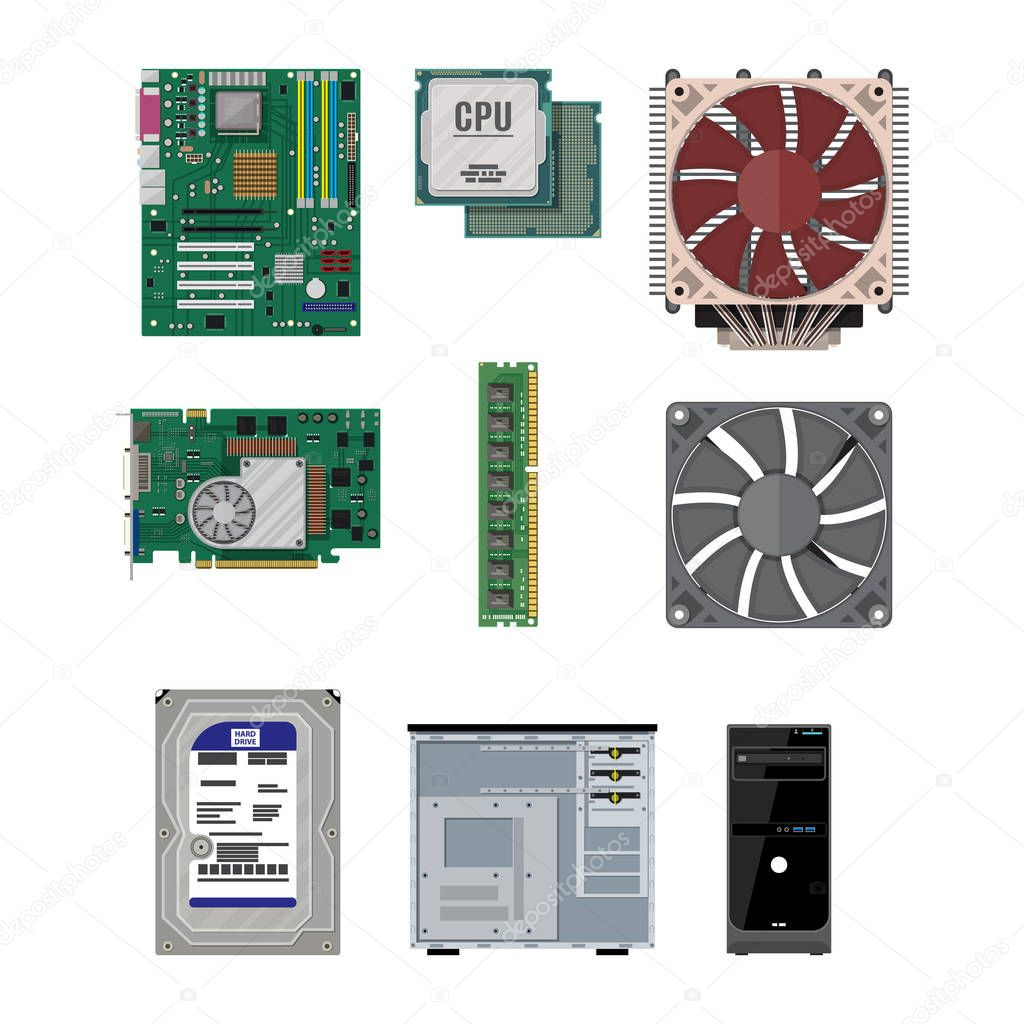 motherboard hard drive cpu fan graphic card memory screwdriver and case set of personal computer hardware pc components icons vector illustration in flat style premium vector in adobe illustrator ai wdrfree
