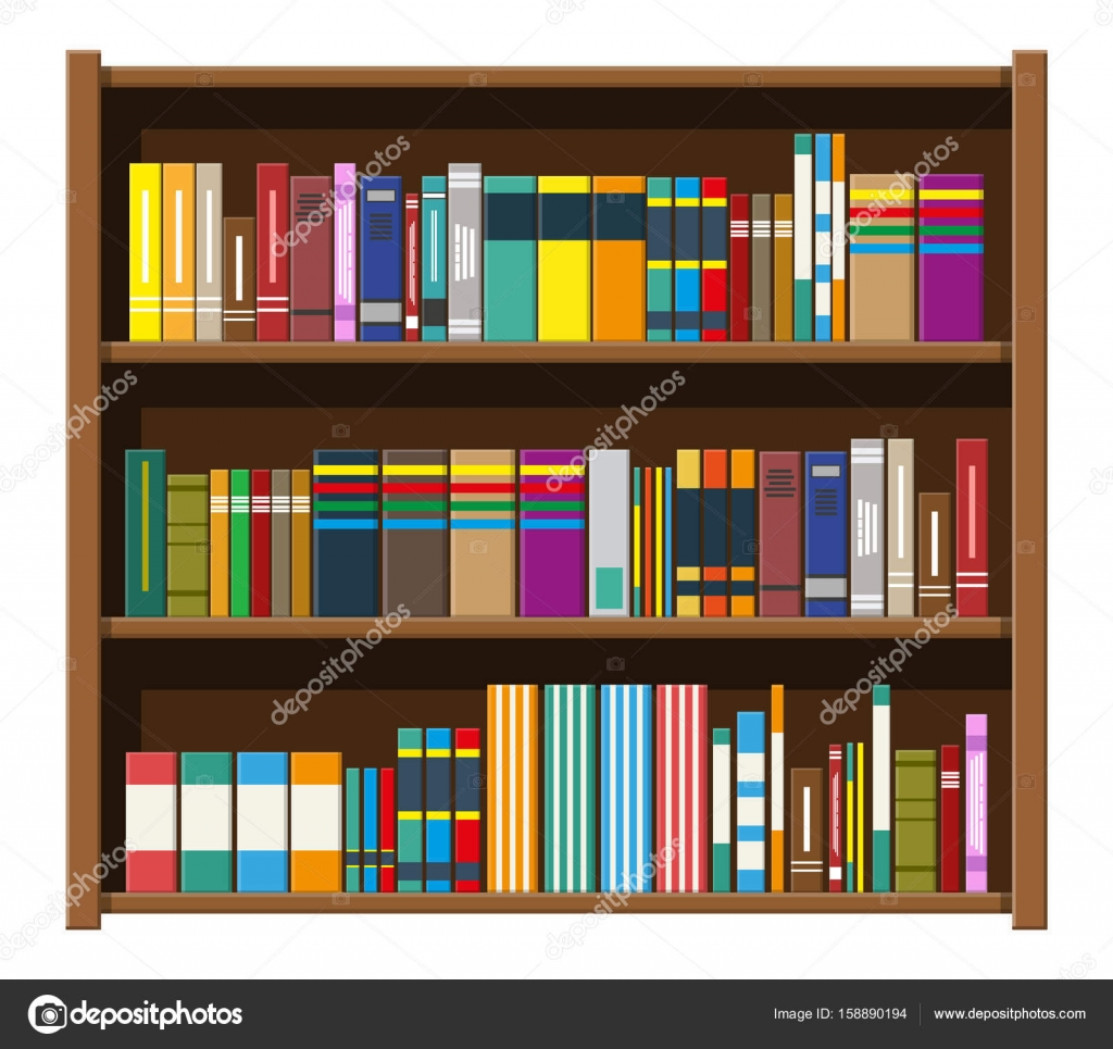 Bibliotheek boek plank. Boekenkast met verschillende boeken ...