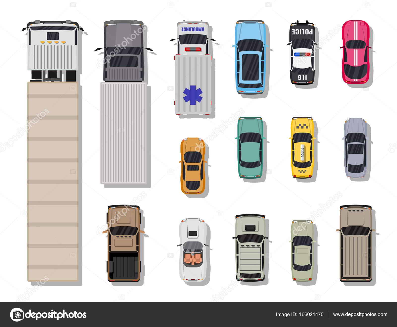 다양 한 차량의 컬렉션입니다. 상위 뷰