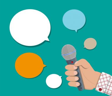 Hand holding microphone and speech balloon.