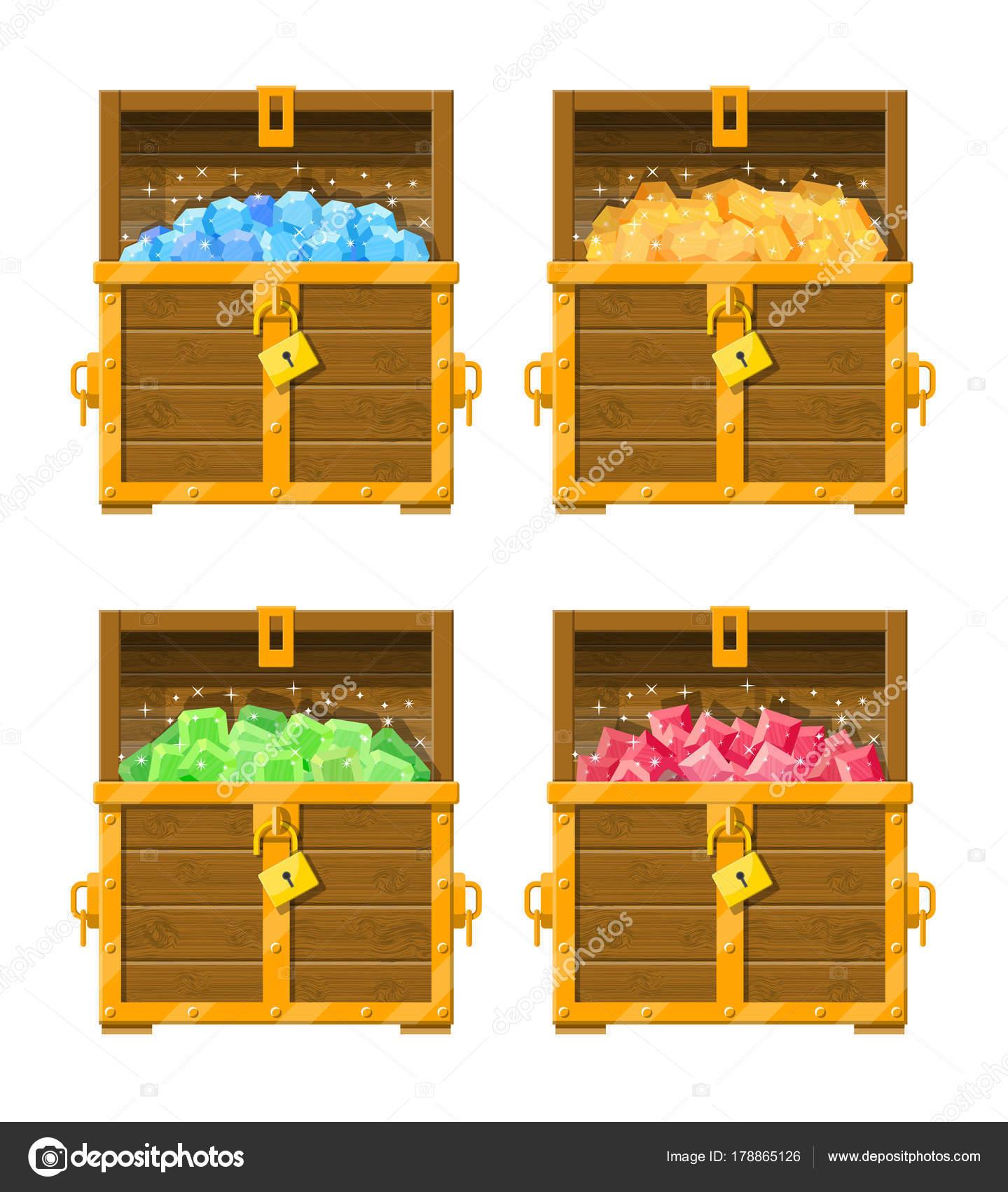 Treasure chest pełen r³Å¼ne diamenty — Grafika wektorowa © abscent