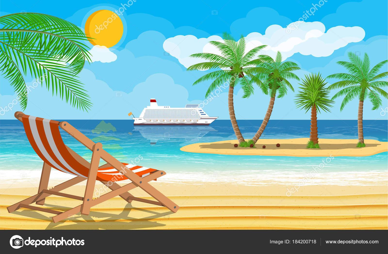 Dibujos Islas Con Palmeras Paisaje De Palmera En La Playa