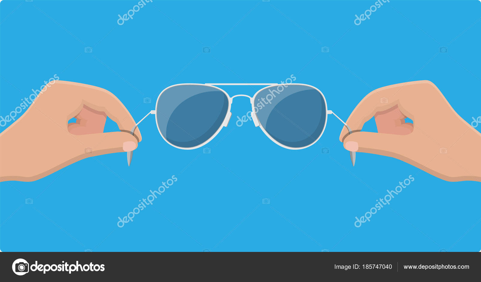 4a5498f35a415 Aviator sunglasses in hand. Protective eyewear. Vector illustration in flat  style — Vector by abscent