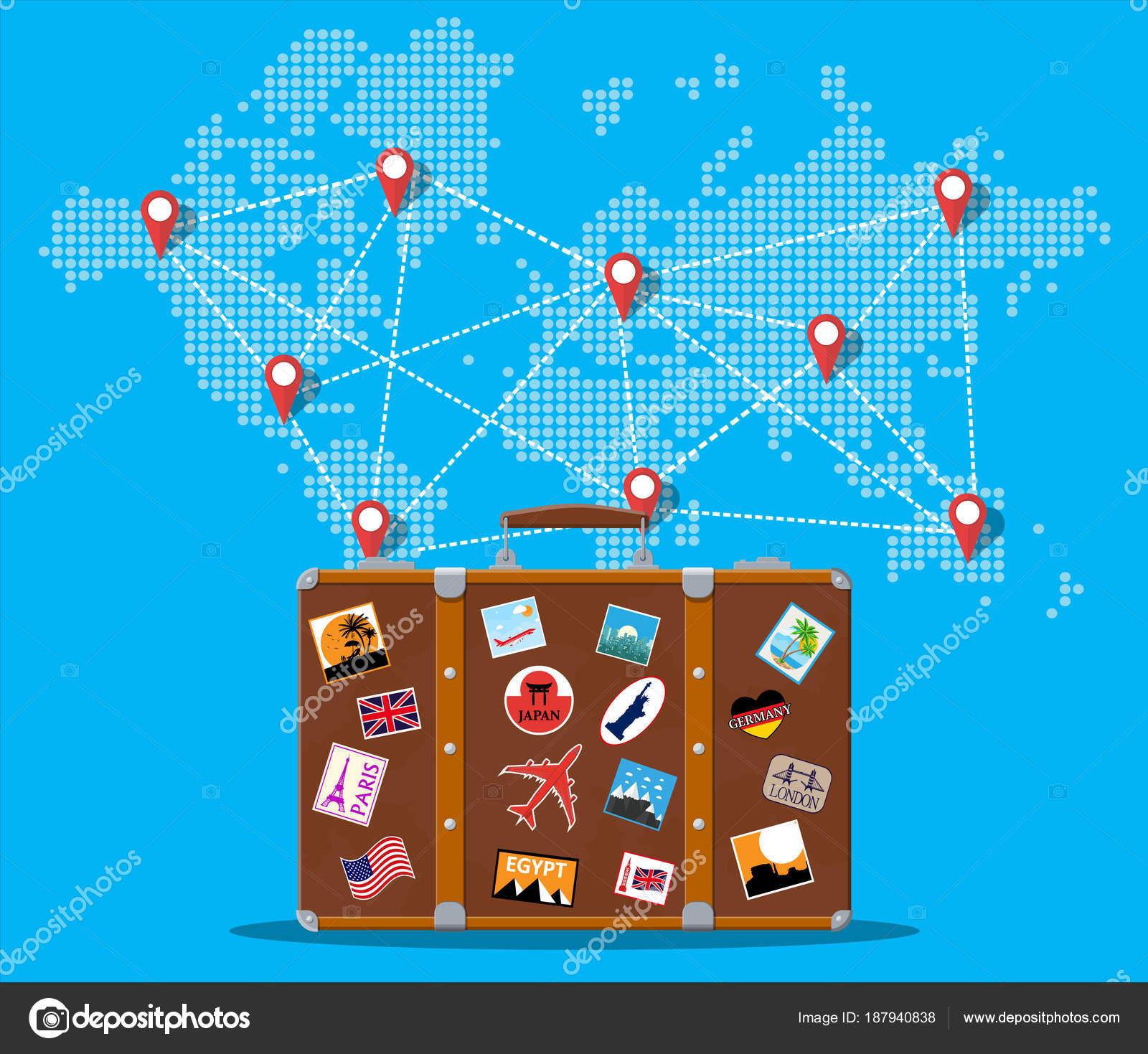 Travel suitcase with stickers and world map stock vector abscent travel suitcase with stickers of countrys and citys all over the world world map with travel destinations vacation and holiday gumiabroncs Images