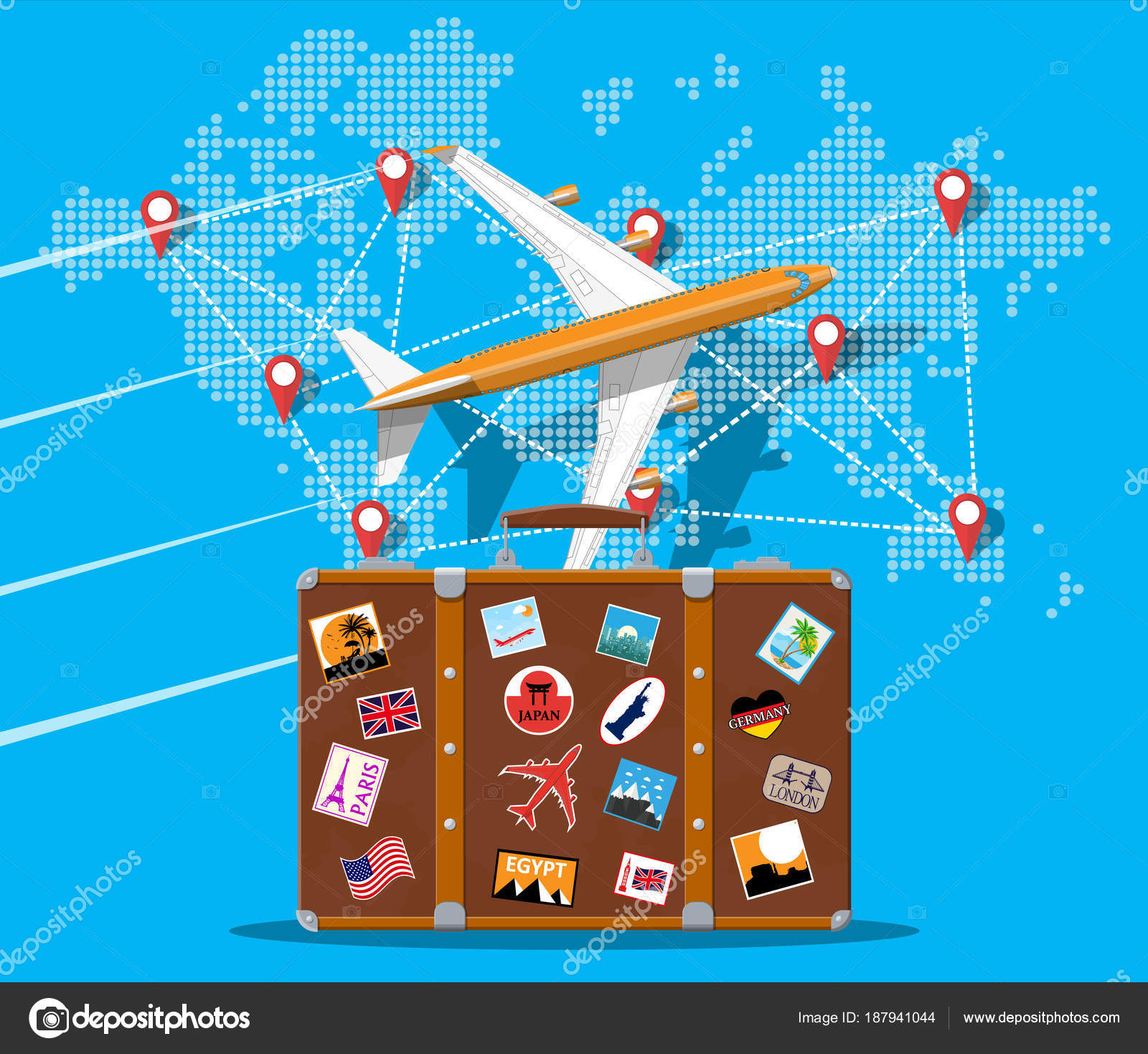 Travel suitcase airplane and world map stock vector abscent travel suitcase with stickers of countrys and citys all over the world world map with travel destinations airplane vacation and holiday gumiabroncs Images