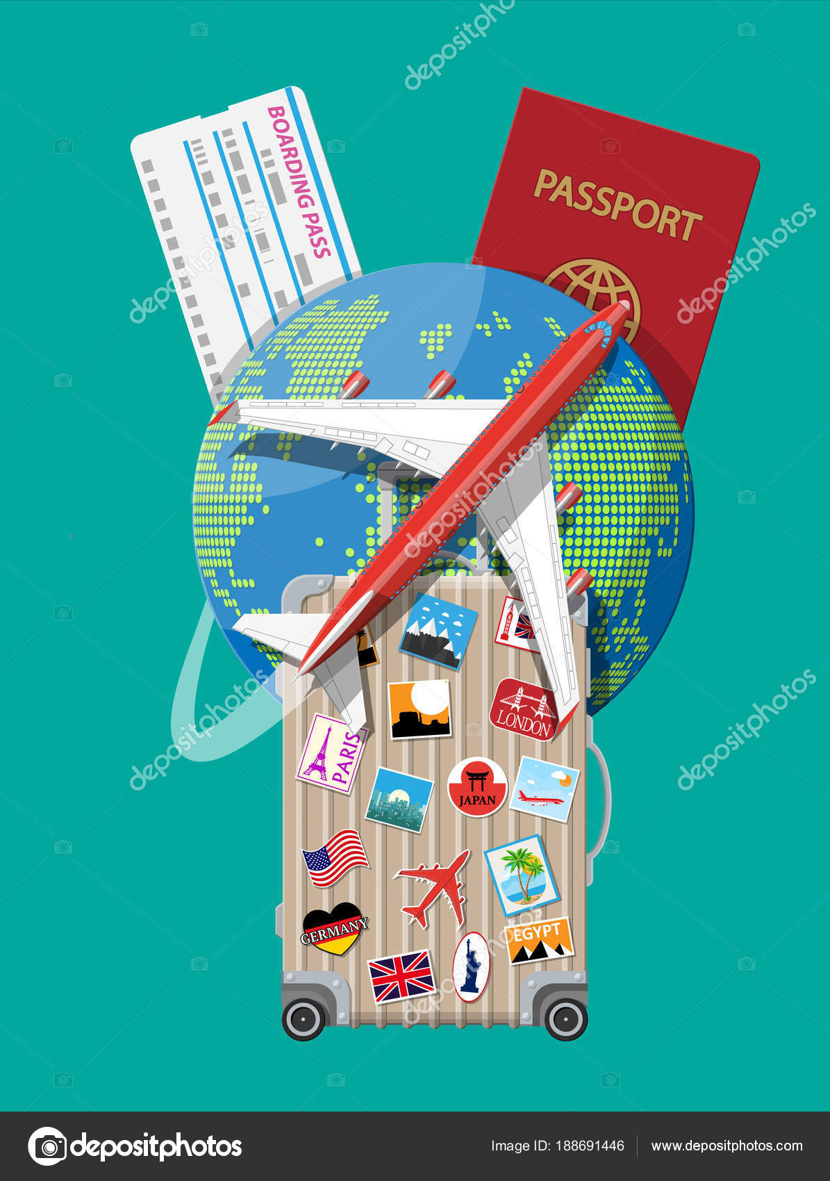 Travel suitcase with stickers and world map stock vector abscent travel suitcase with stickers and world map stock vector gumiabroncs Images