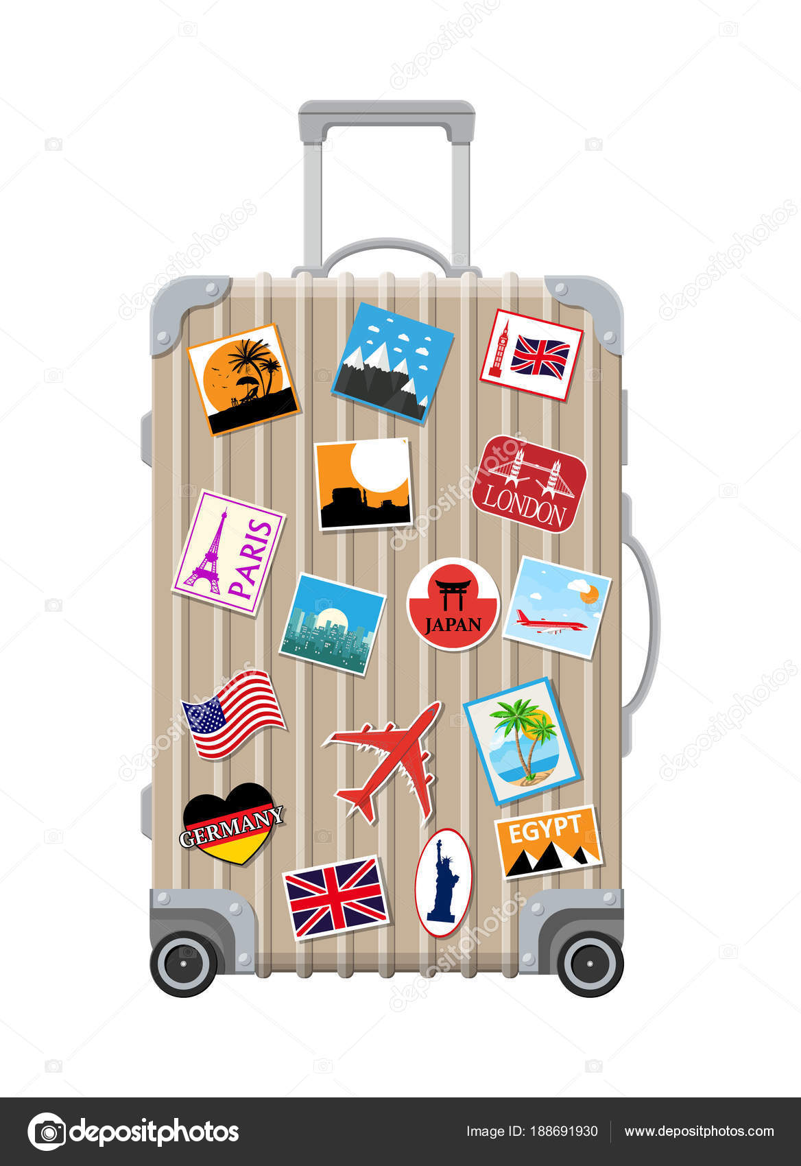 74b23a48df Ασημένια ταξιδιωτική τσάντα. Πλαστική θήκη με αυτοκόλλητα. Καροτσάκι με  ρόδες. Ετικέτες countrys και citys σε όλο τον κόσμο. Αποσκευές και χώρο  φύλαξης ...