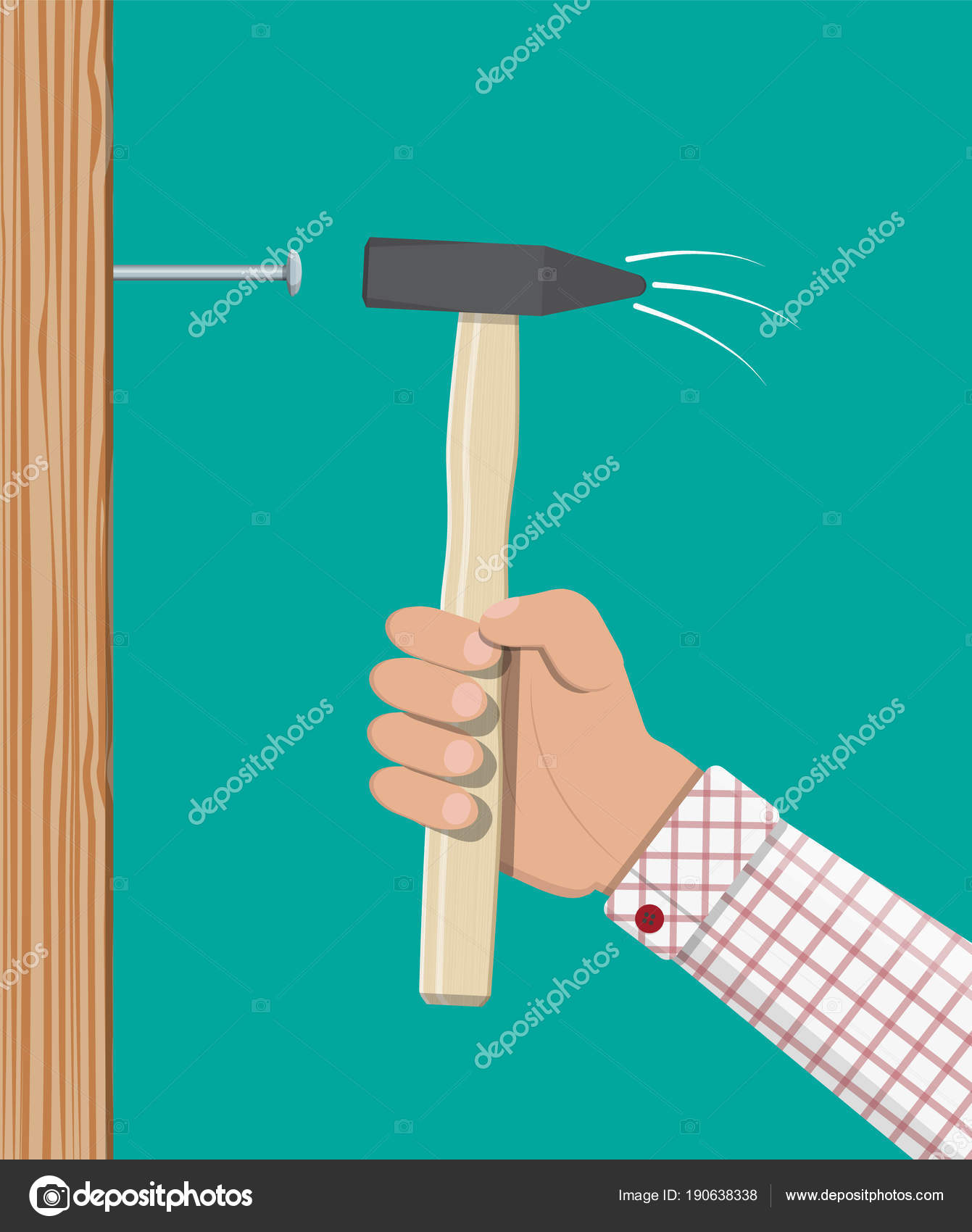 Man hammering nail with hammer into wall. — Stock Vector © abscent ...