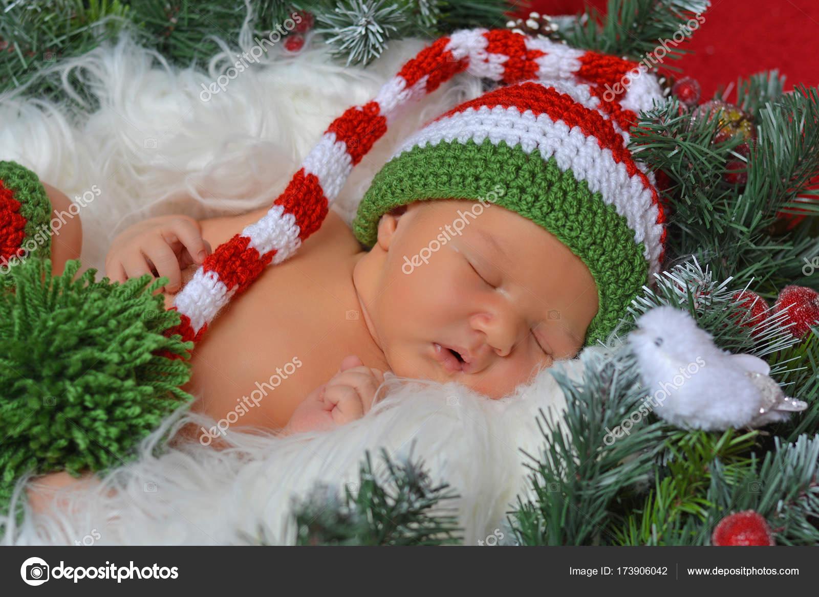 Sweet xmas newborn elf in decorations — Stock Photo © Raketic #173906042