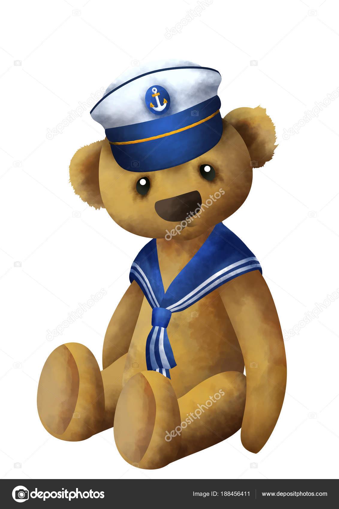 e54ca35686b2d Lindo osito de peluche pequeño sentado en un sombrero de marinero — Foto de  Stock
