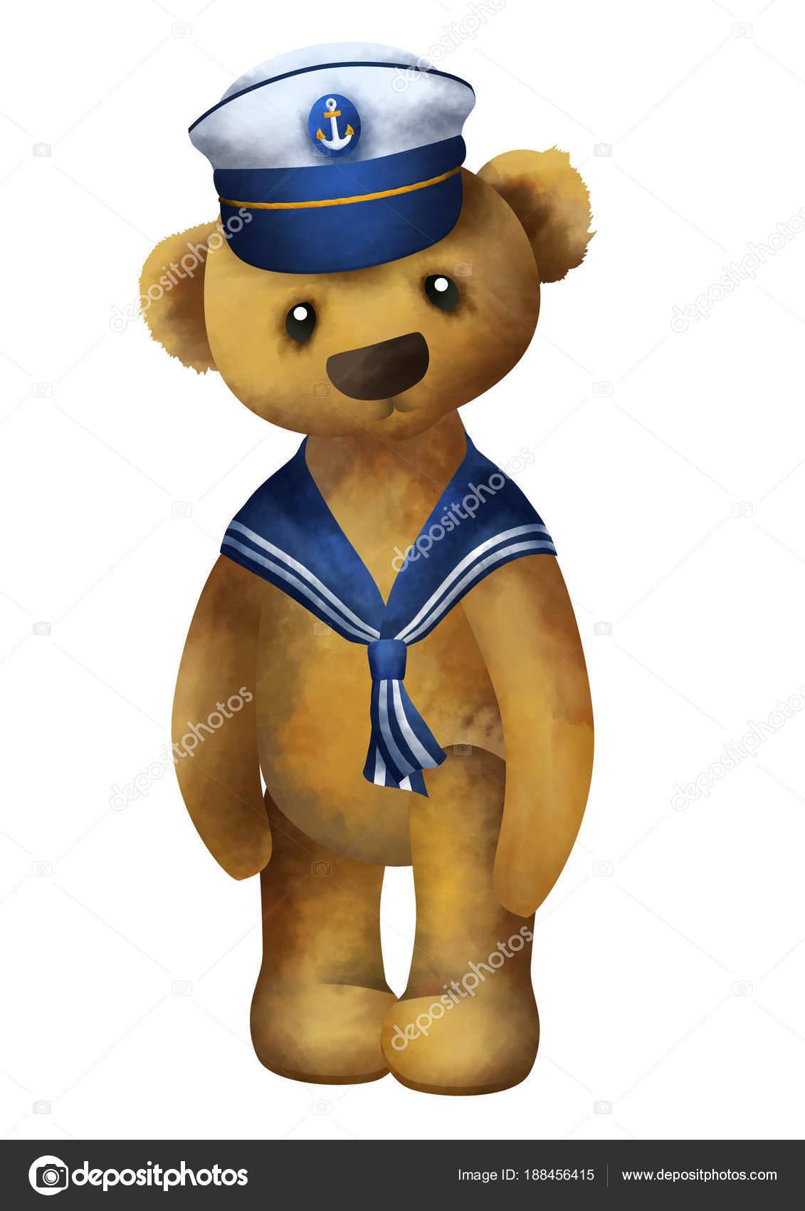 5f5f63bdc41eb Lindo pequeño oso de peluche permanente en un sombrero de marinero — Foto  de Stock