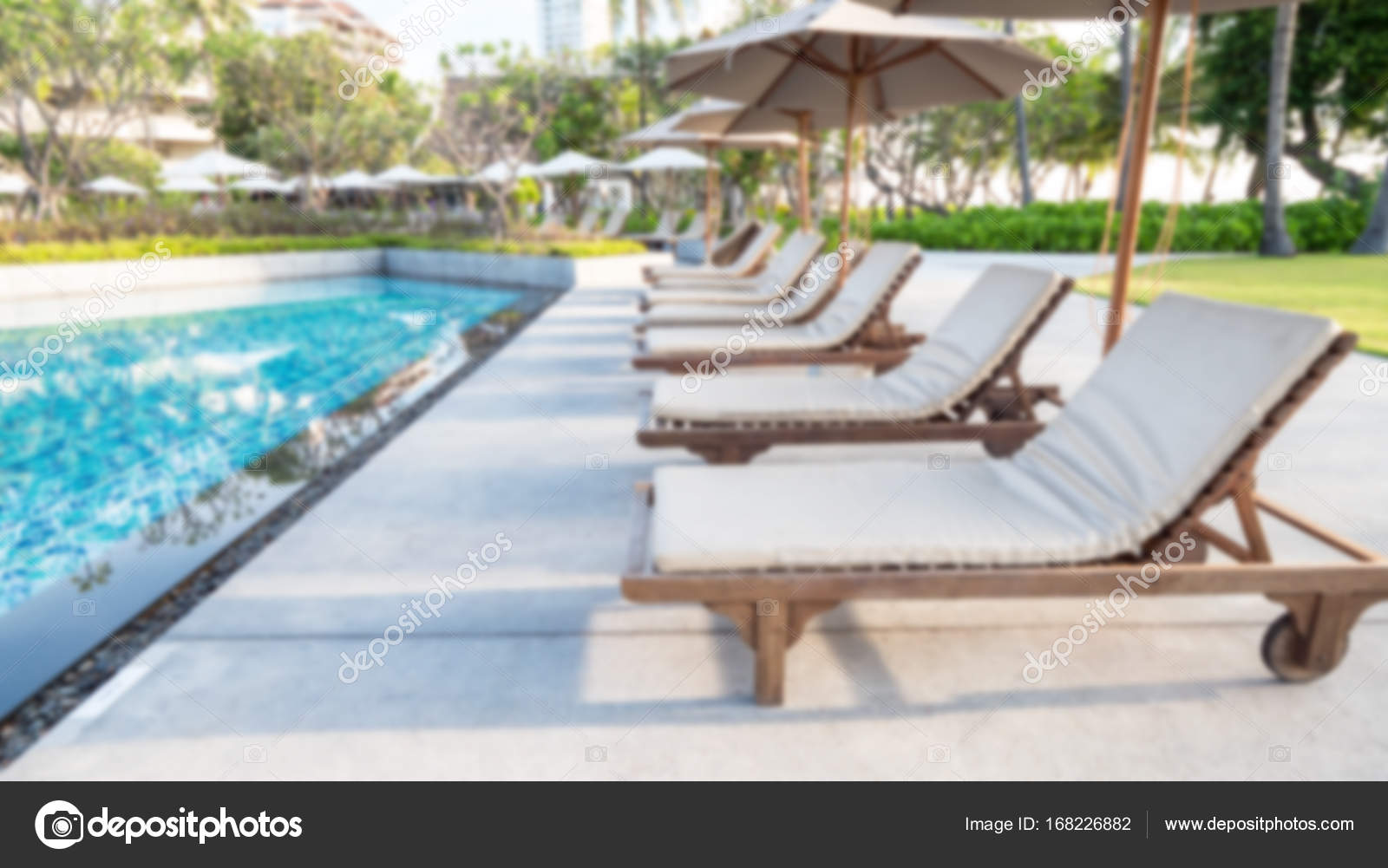 Blur Background Of Deck Chair, Bed Beside Swimming Pool 1 U2014 Stock Photo