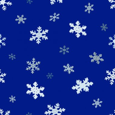 The falling snowflakes. Seamless background. 3D snowflakes. Blue seamless background. New year Christmas. Paper packing icon