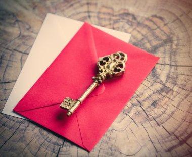 Retro key and envelopes