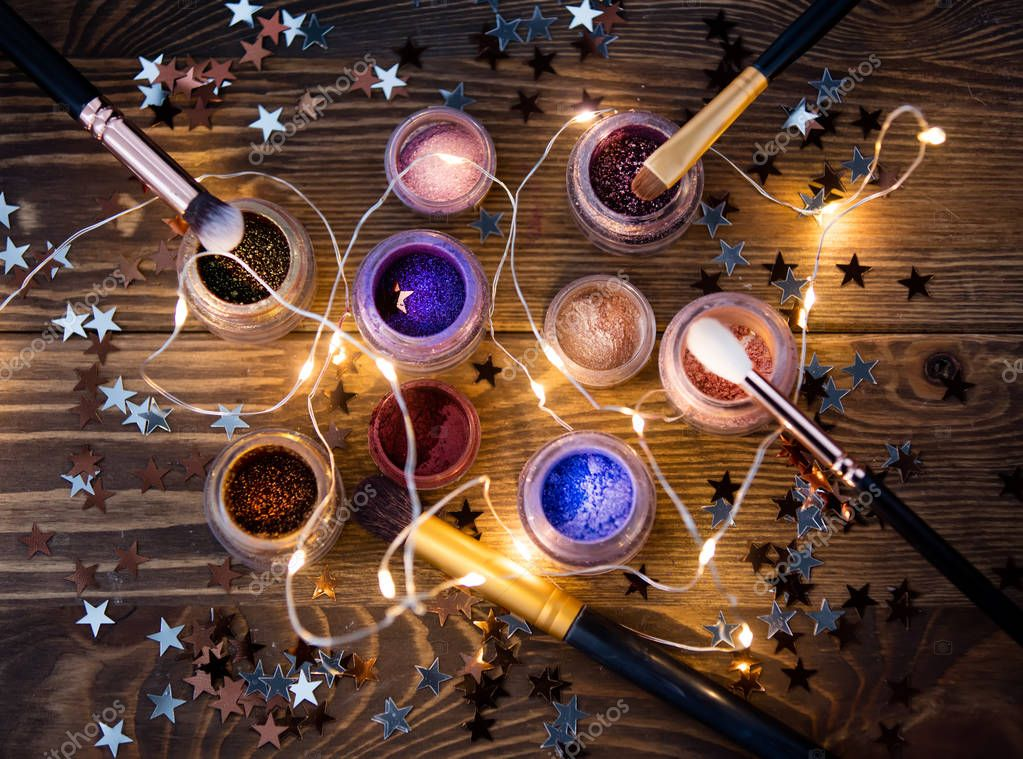 Present makeup cosmetics and fairy lights
