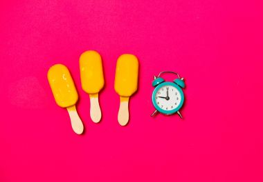 ice creams and  alarm clock