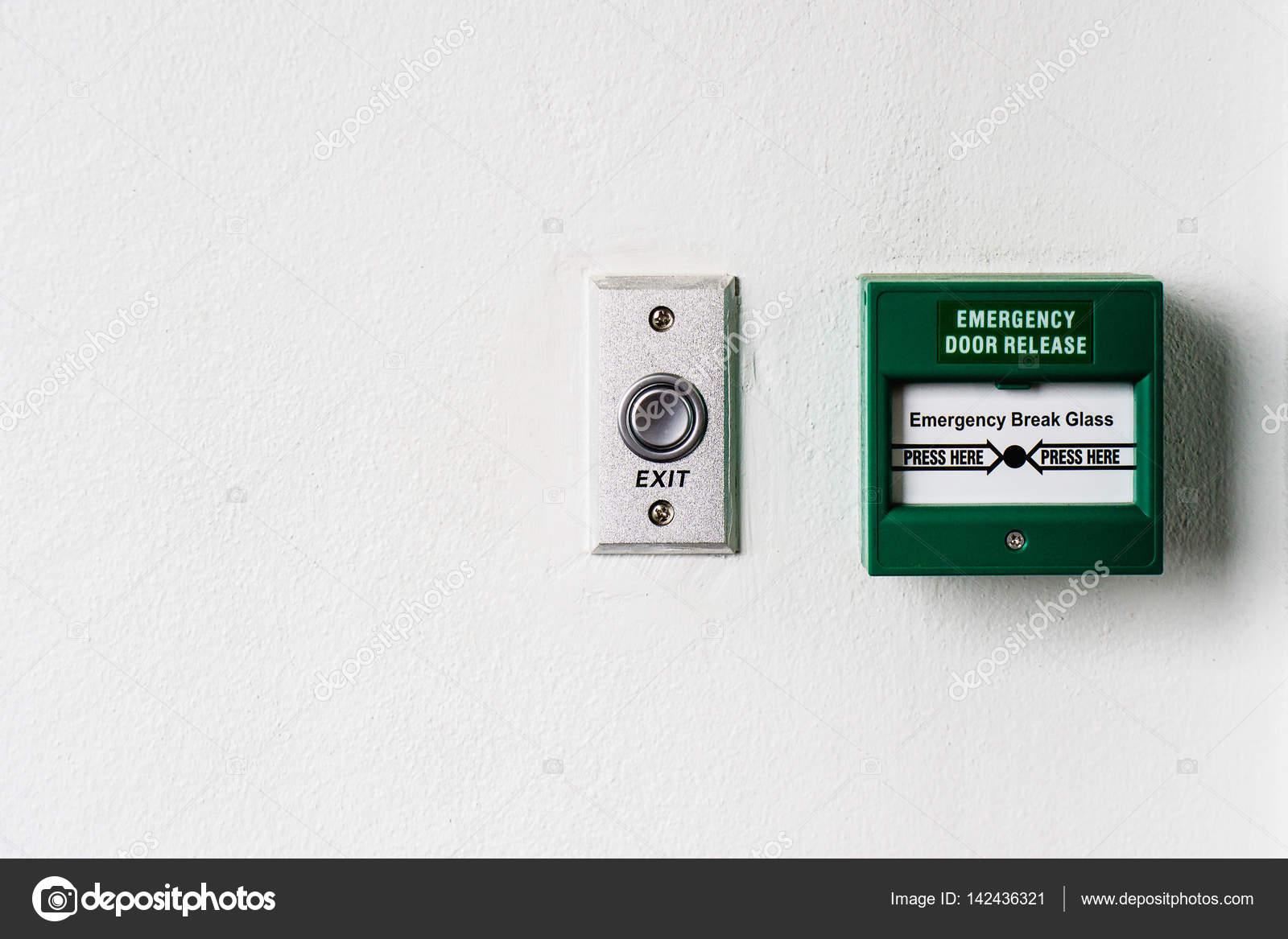 Emergency door release break point and door exit button — Stock ...