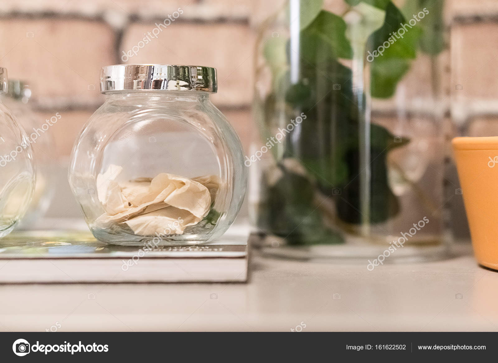 Idea Of Decorated Glass Jars For Home Decoration Stock