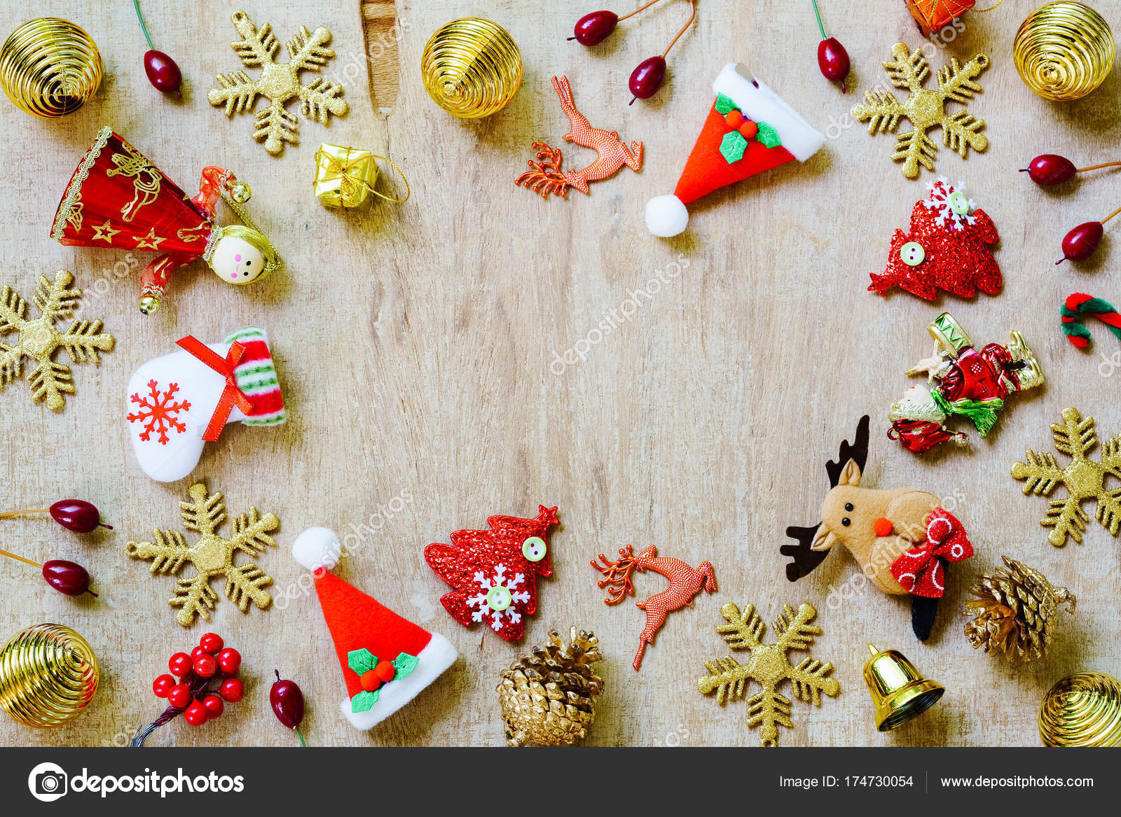merry christmas and happy new year background concept various christmas decoration items on wood background photo by ezthaiphoto